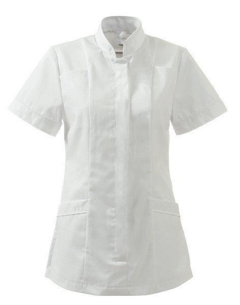 Mandarin collar pure color healthcare tunic